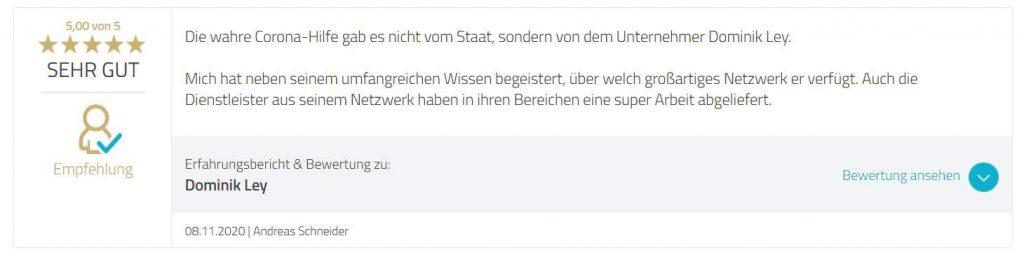 Dominik Ley Erfahrungen Kunde Andreas Schneider
