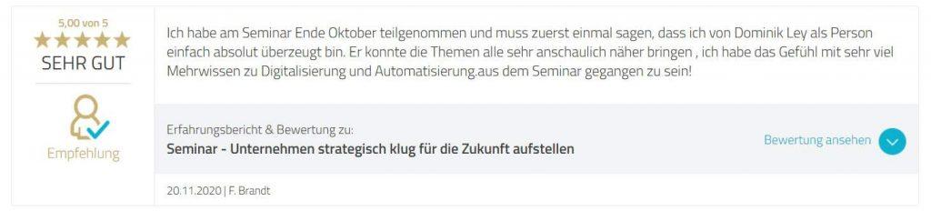 Dominik Ley Erfahrungen Kunde F. Brandt