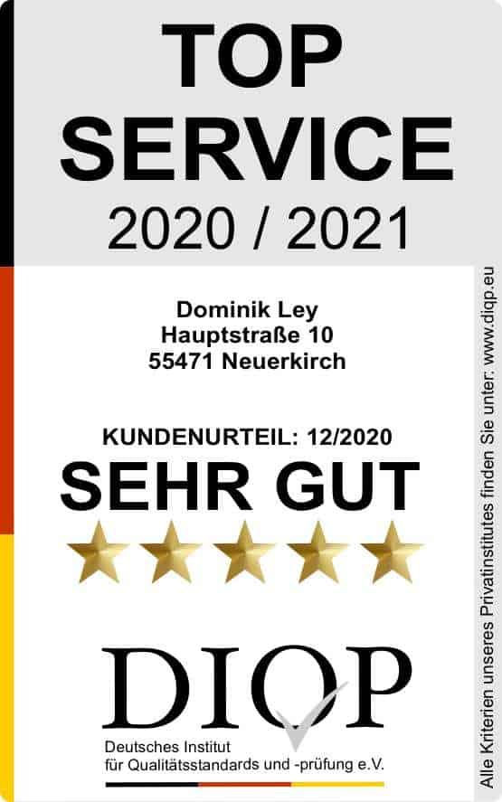 Zertifizierung Dominik Ley Top Service 2020