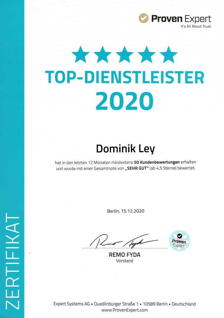 Proven Expert Dominik Ley Top Dienstleister 2020