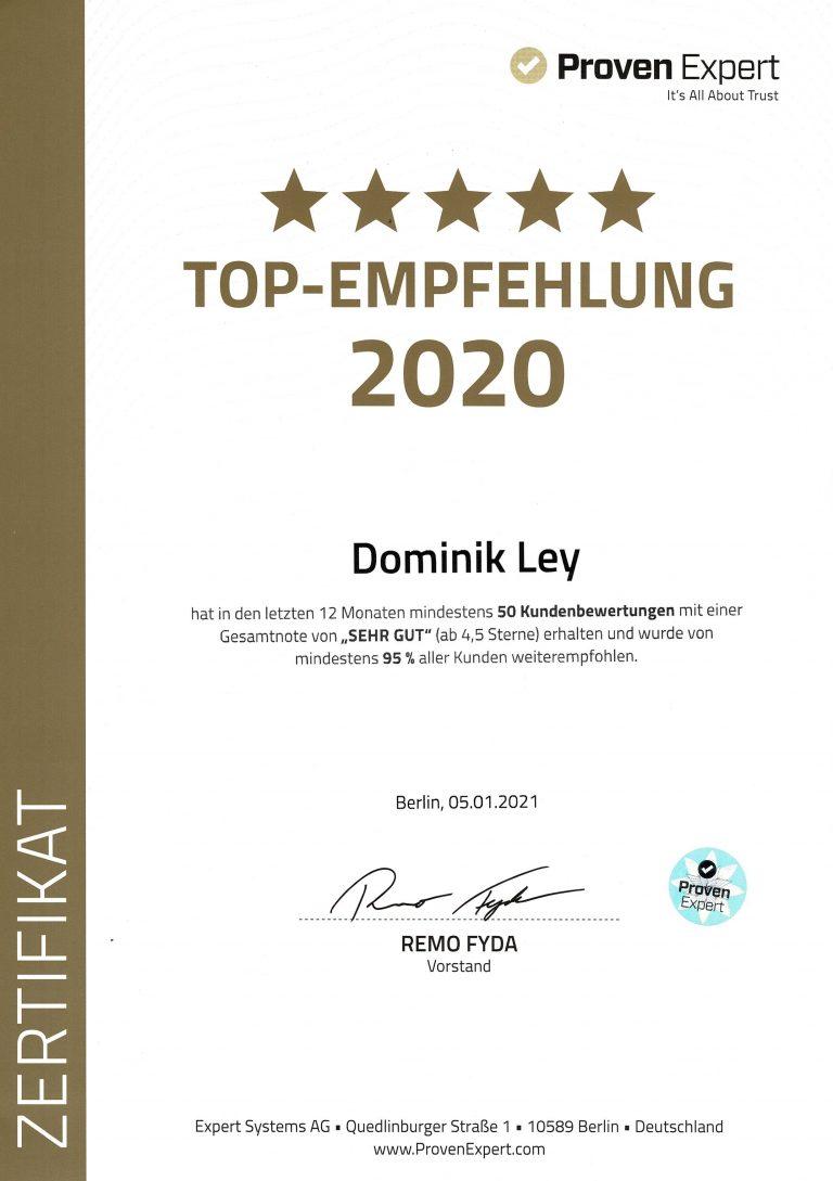 Proven Expert Top-Empfehlung 2020 für Dominik Ley